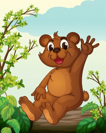 bush babies: Illustration of a bear sitting on a wood in a nature