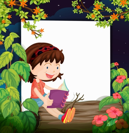 dark hair: Illustration of a girl and a white board in a beautiful nature Illustration