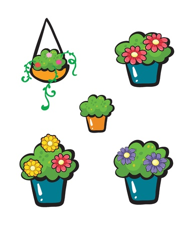 Illustration of flowerpots on a white background Stock Vector - 17046693