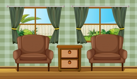 yard furniture: Illustration of cushion chairs and side table in a room
