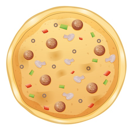 food clipart: illustration of a pizza on a white background