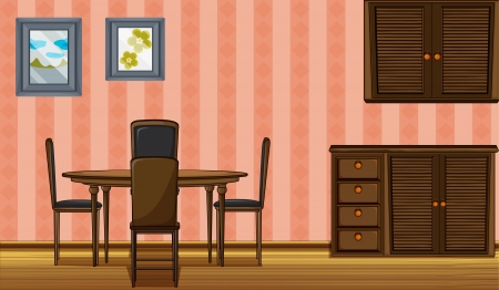 Illustration of a wooden furniture in a room Stock Vector - 17046728