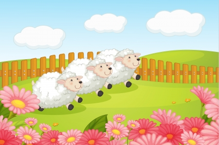 paddock: Illustration of sheeps in a beautiful nature Illustration