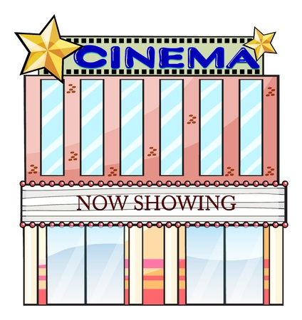 cinema background: Illustration of a cinema theater building on a white background