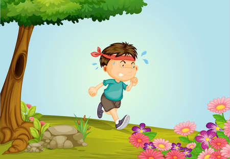 Illustration of a boy running in a beautiful nature Vector