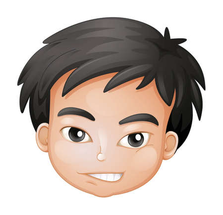 naughty boy: Illustration of a face of a boy on a white background