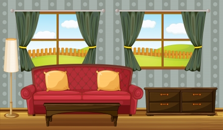 living room: Illustration of a red sofa and side table in a room