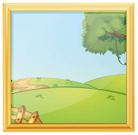 Illustration of a beautiful landscape photo frame on a white background Vector