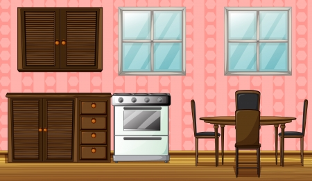 gas stove: Illustration of a wooden furniture and gas stove in a room