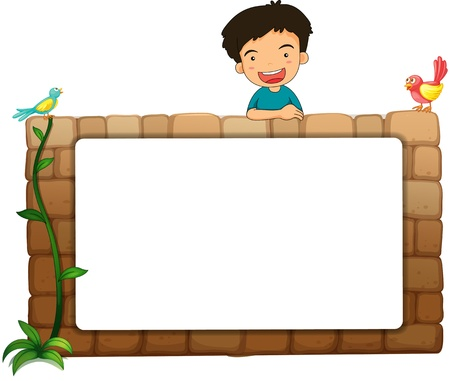 Illustration of a white board, a boy and birds on a white background Stock Illustration - 17046708