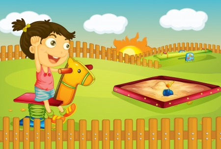 sandpit: Illustration of a girl playing in a beautiful nature