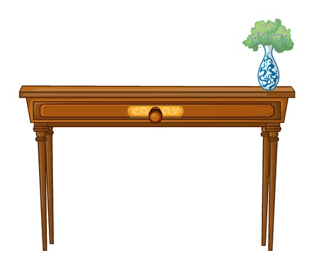 drawing table: Illustration of a table and a flowerpot on a white background Illustration