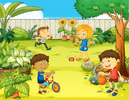 school yard: Illustration of kids playing in a beautiful nature