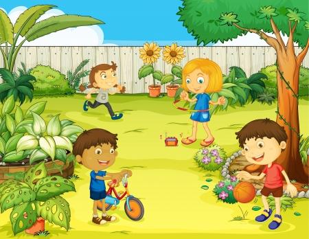 patio escuela: Ilustraci�n de ni�os jugando en una hermosa naturaleza