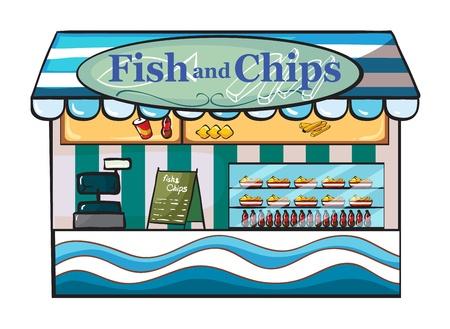 pesce cotto: Illustrazione di un pesce e un negozio di chip su uno sfondo bianco Vettoriali