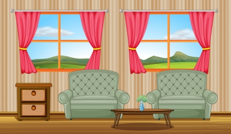 living room window: Illustration of cushion chairs and side table in a room