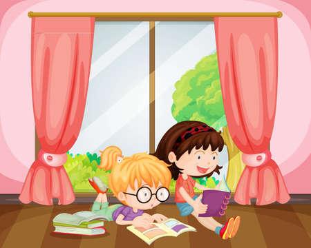 child bedroom: Ilustraci�n de las ni�as leyendo el libro en una habitaci�n