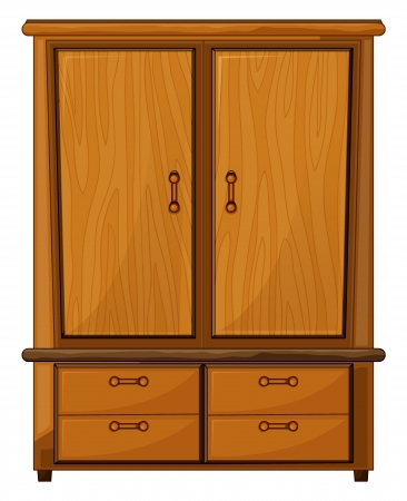 closet door: Illustration of a wardrobe on a white background Illustration