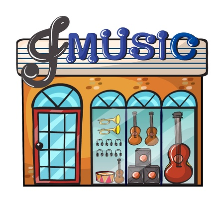 Illustration of a music store on a white background Vector