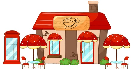 shop window display: illustration of a coffee shop on a white background