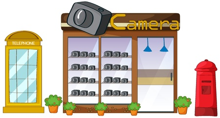 Illustration of a camera store, mailbox and telephone on a white background Vector