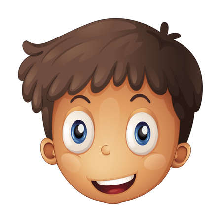 naughty: Illustration of a face of a boy on a white background