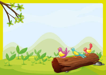 dry flies: illustration of birds sitting on a dry wood in a beautiful nature