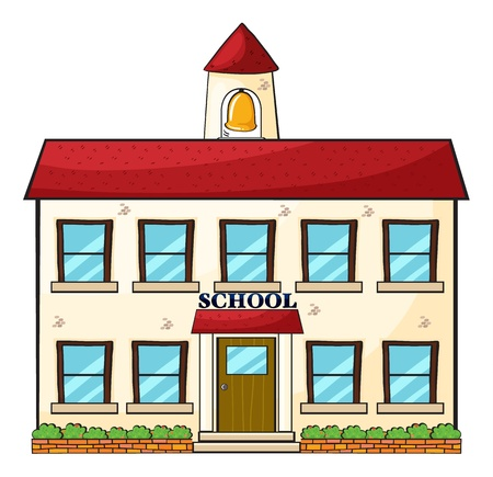 college building: illustration of a school building on a white  background Stock Photo