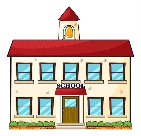 escuela caricatura: ilustración de un edificio de la escuela en un fondo blanco Foto de archivo