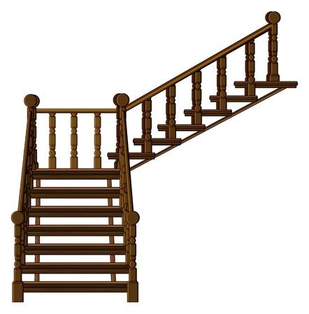 down the stairs: Ilustraci�n de una escalera en un fondo blanco