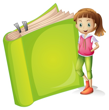 school clipart: Illustration of a girl and a book on a white background