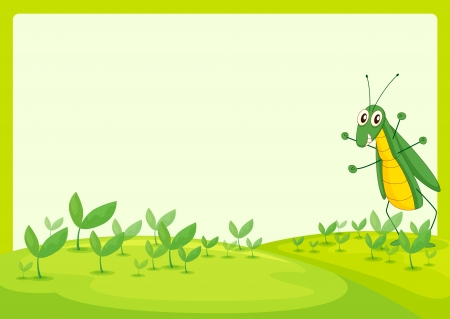 wildlife smile: Illustration of a grasshopper in a beautiful nature