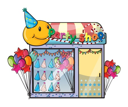party hats: Illustration of a party shop on a white background
