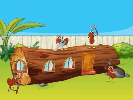 red ant: Illustration of ants and a wood house in a beautiful nature Illustration