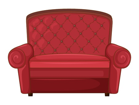 old sofa: Illustration of a cushion chair on a white background
