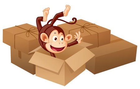 Illustration of a smiling monkey and boxes on a white background Stock Vector - 17082646