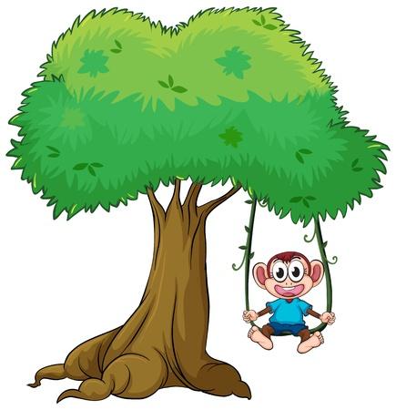 Illustratie van aap spelen swing op een boom