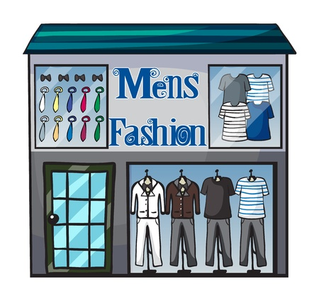 store display: Illustration of mens fasion shop on a white background