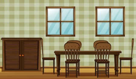 Illustration of a wooden furniture in a room Vector