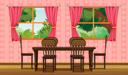 lounge room: Illustration of a wooden furniture and window in a room