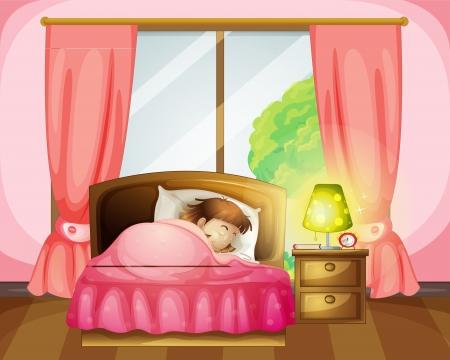 dormir habitaci�n: Ilustraci�n de una ni�a durmiendo en una cama en una habitaci�n