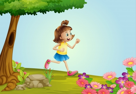 Illustration of a girl running in a garden Vector