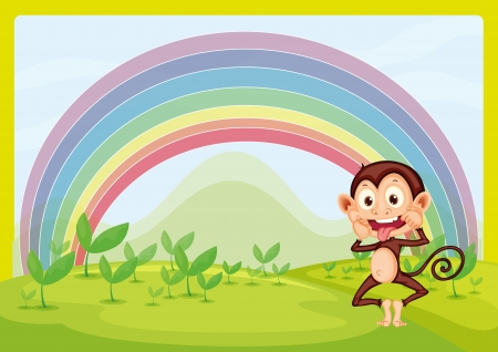 Illustration of monkey and rainbow in green nature Vector