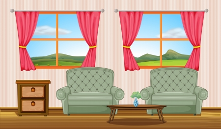 Illustration of a  furniture and windows in a room Vector
