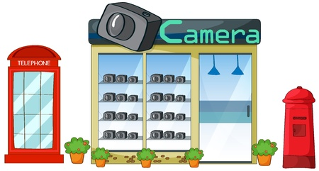 Illustration of a camerashop on a white background Stock Vector - 17082614