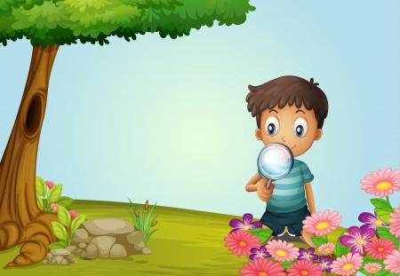 lense: Illustration of a boy with lense in a garden
