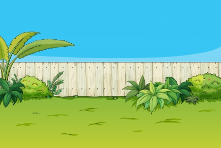 pasture fence: Illustration of a beautiful landscape in a nature