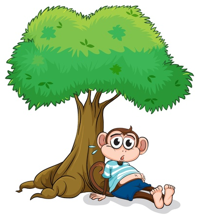 Illustration of a monkey sitting under a tree on a white background Vector