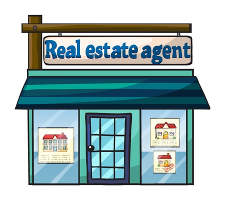 property agent: Illustration of real estate agents office on white