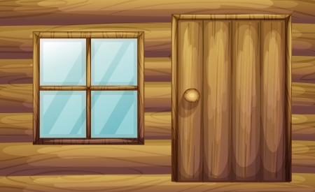 wooden window: Illustration of window and door of a wooden room Illustration